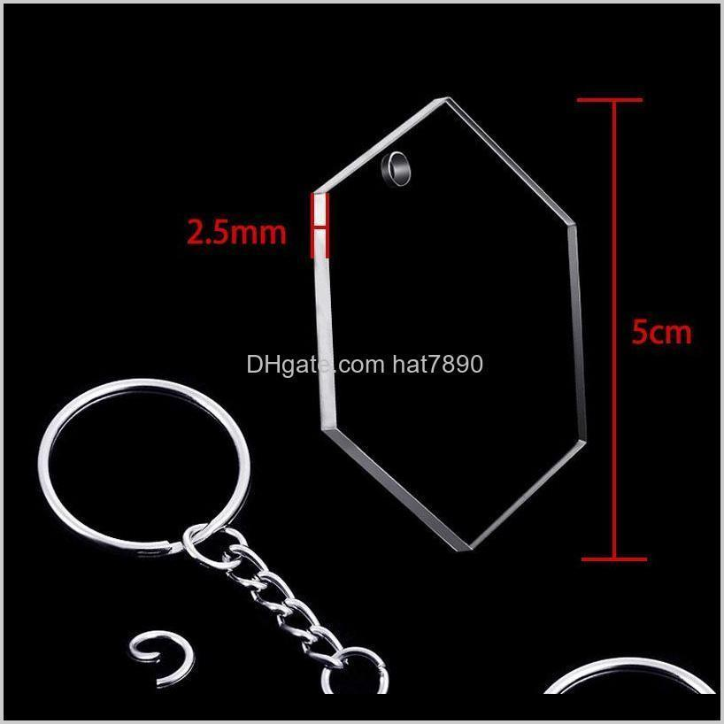 Kimter Transparent Hexagon Keyring Acrylic Keychain Blank Charm Ornaments Key Rings with Chain for DIY Vinyl Projects W49F