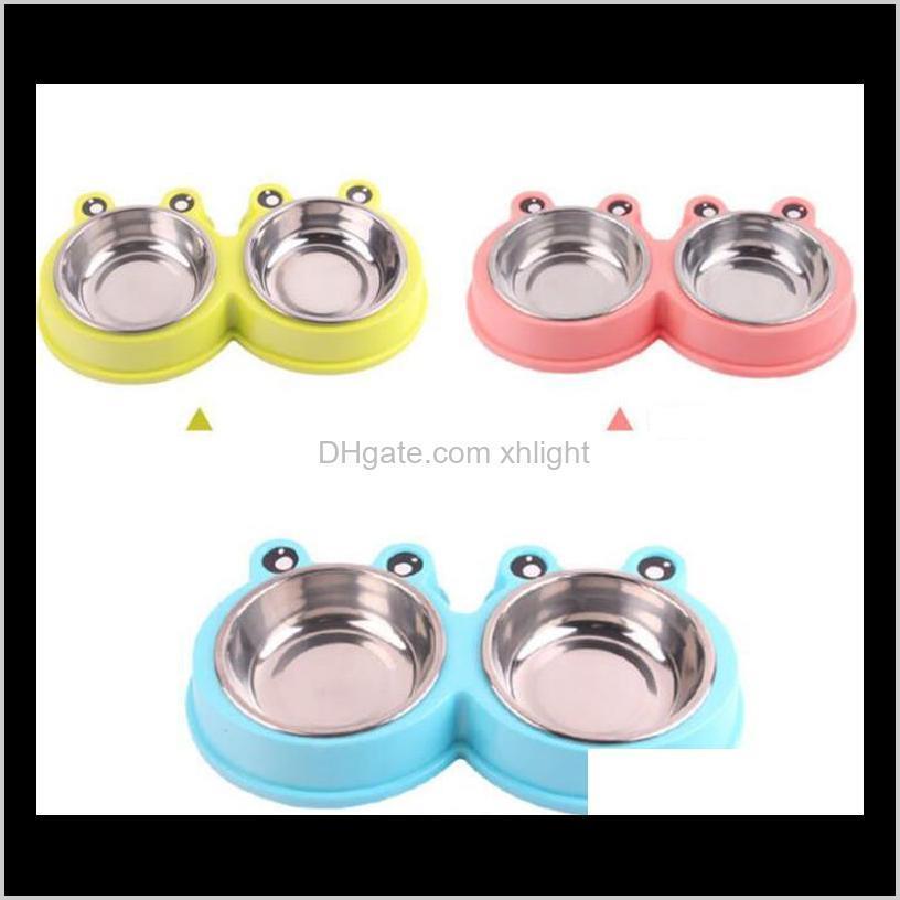 pet water food feeding bowls cat dog cartoon feeders bowls stainless steel outdoor travel feeding bowls