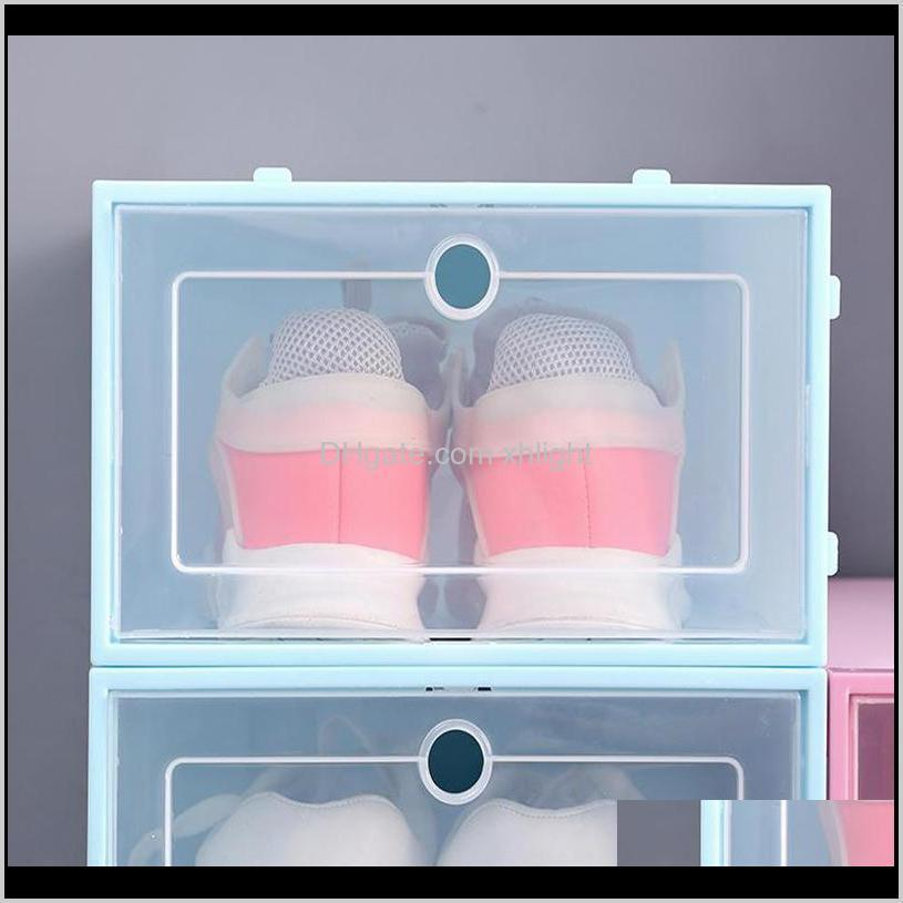 storage boxes thickened pp plastic dustproof shoes box with flip cover transparent strong candy color stackable rack rh71025