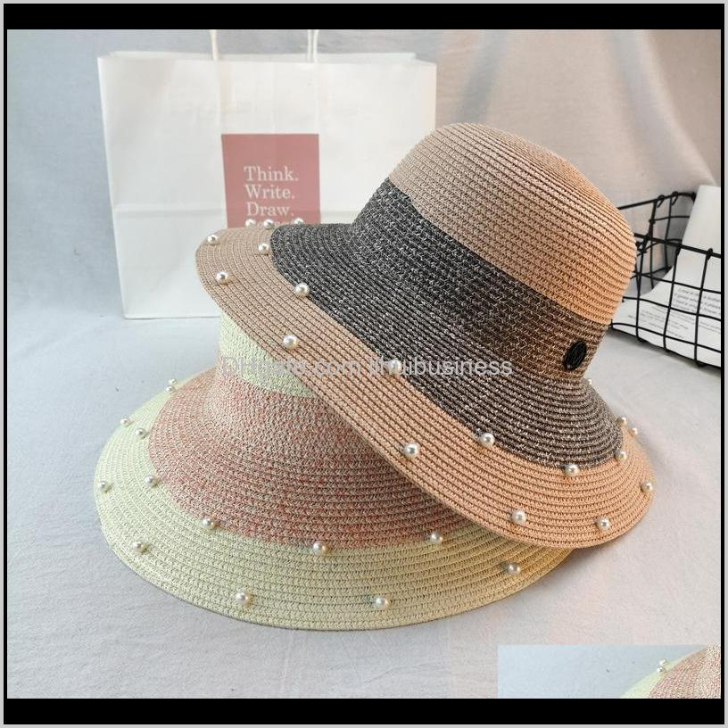 pearl silk straw hat for women new summer british pearl beading flat brimmed straw hat shading sun lady beach