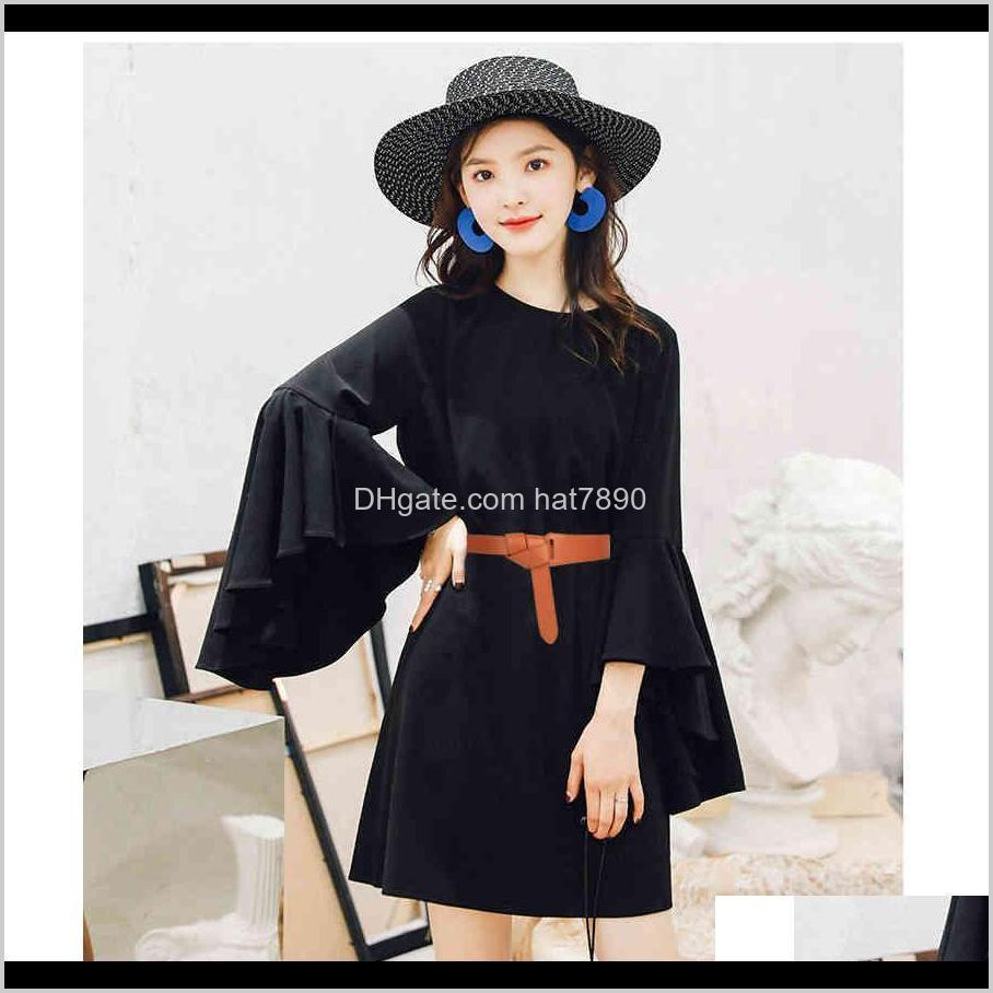Female Black Knotted Belt Decoration Skirt Simple Wild Casual Dress Waistband Long Wide Belts Red Pu Leather Strap