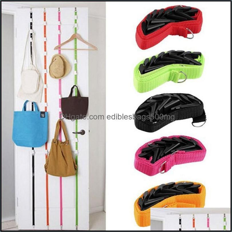 Storage Boxes & Bins Portable Hanging Strap With 8 Hooks Clothes Hat Bag Over Door Hanger Cabinet Holder