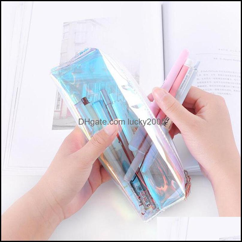 Cool laser transparent color pencil bag Fresh art stationery storage bag Cosmetic bag tassel pencil case