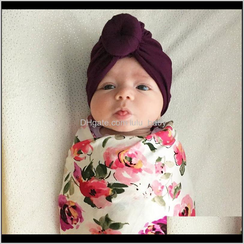 baby toddler kids rose bowknot soft cotton blend hat caps clothes accessories christmas birthday gift 12 colors in stock