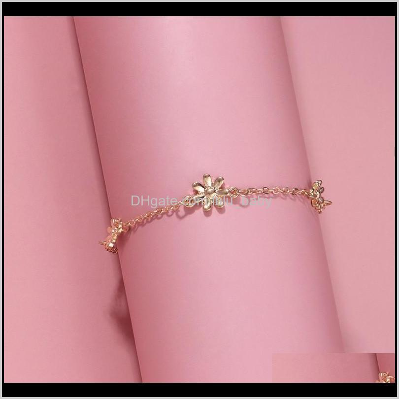 lovely womens ankle bracelets daisy charm anklet bracelet barefoot sandals for girls/ladies ( gold ,silver)