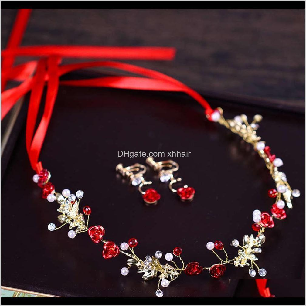 pins red flower hair band earring set bridal dress accessories earring set