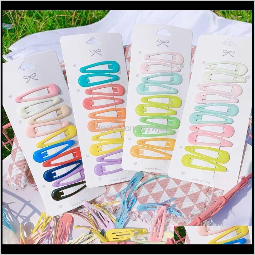 10pcs/set girls sweet colorful water droplets hairpins bb clips children cute hair clips headbands kids fashion hair accessories1