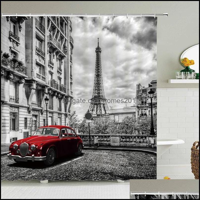 Paris Tower Paris Landscape Shower Curtains Bathroom Waterproof Bath Curtain Polyester Fabric Bathtub Bath Curtain 180*180cm1