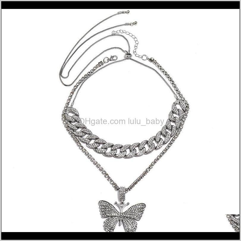 crystal butterfly choker necklace link chain rhinestone pendant necklaces sparkly jewerly party accessories for women and girls