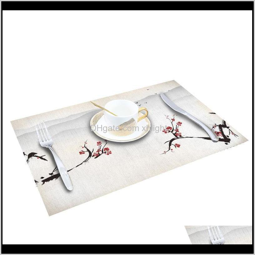 red flower plum flower ink scenery printed cotton linen kitchen placemat dining table mat pads cup mats home decor1