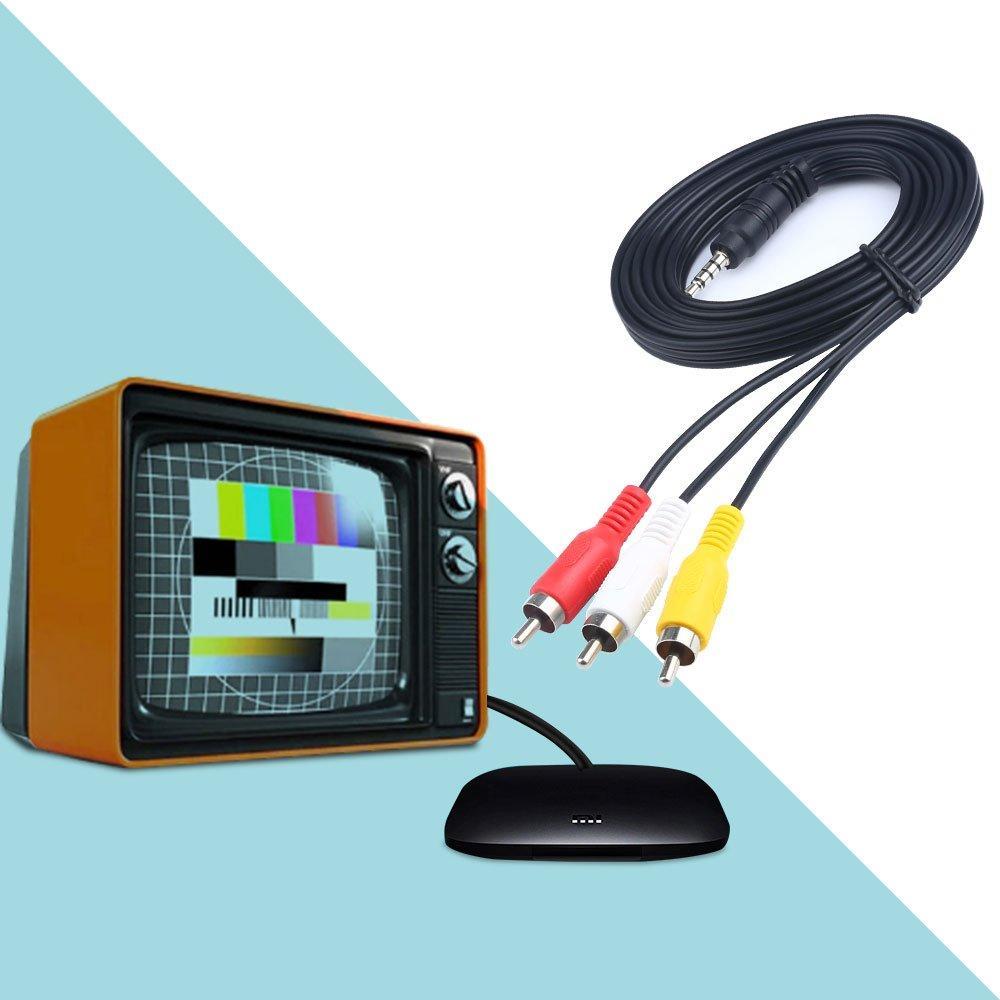 3.5mm Jack Plug Maschio a 3 RCA Adapter Adapter Audio Aux Cable Video AV Cavo lettore DVD Registratore HiFi VCR TV stereo circa 112 cm