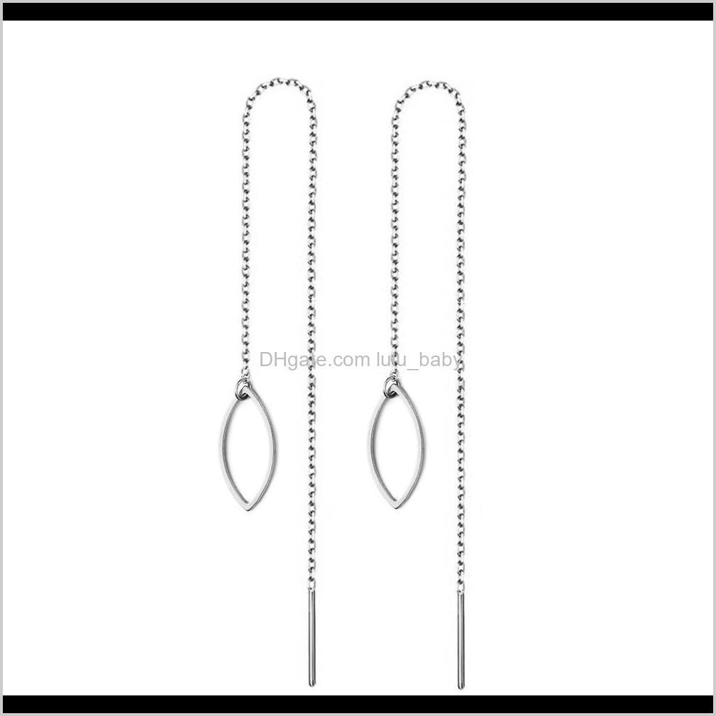 fashion new style stainless steel hollow out leaf tassel drop earring for women girls long chain leaves threader earrings jewelry best