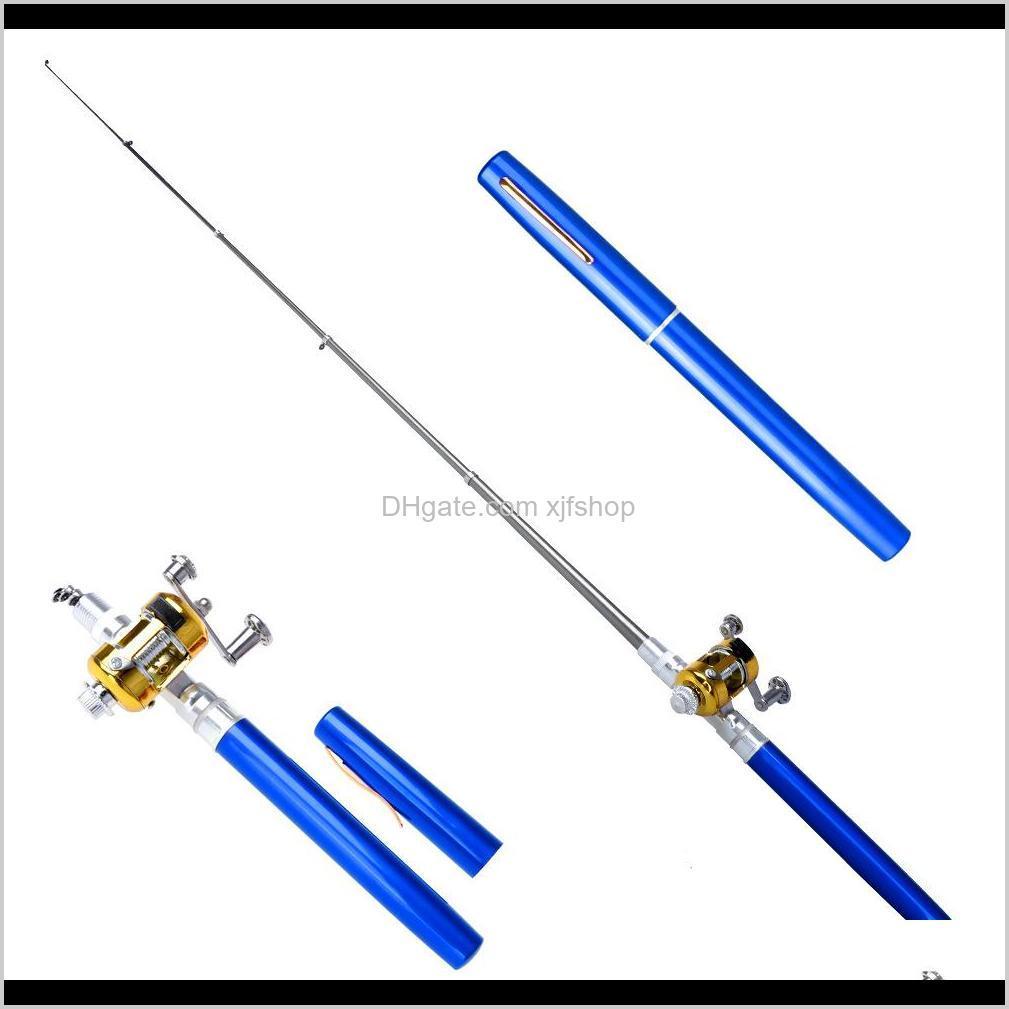 Portable Fishing Rod Mini Rods Ice fishing Tools 6 colors Pen Shape Pocket Fish Rod Small sea rods With Fishing Reels