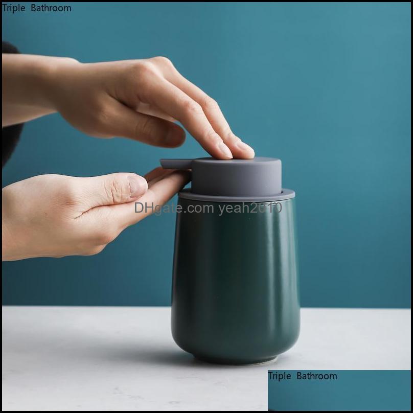 Liquid Soap Dispenser 380ml European Ceramic Bubbler Shampoo Bottle Portable Lotion Wristband Hand Home Bathroom Accessories