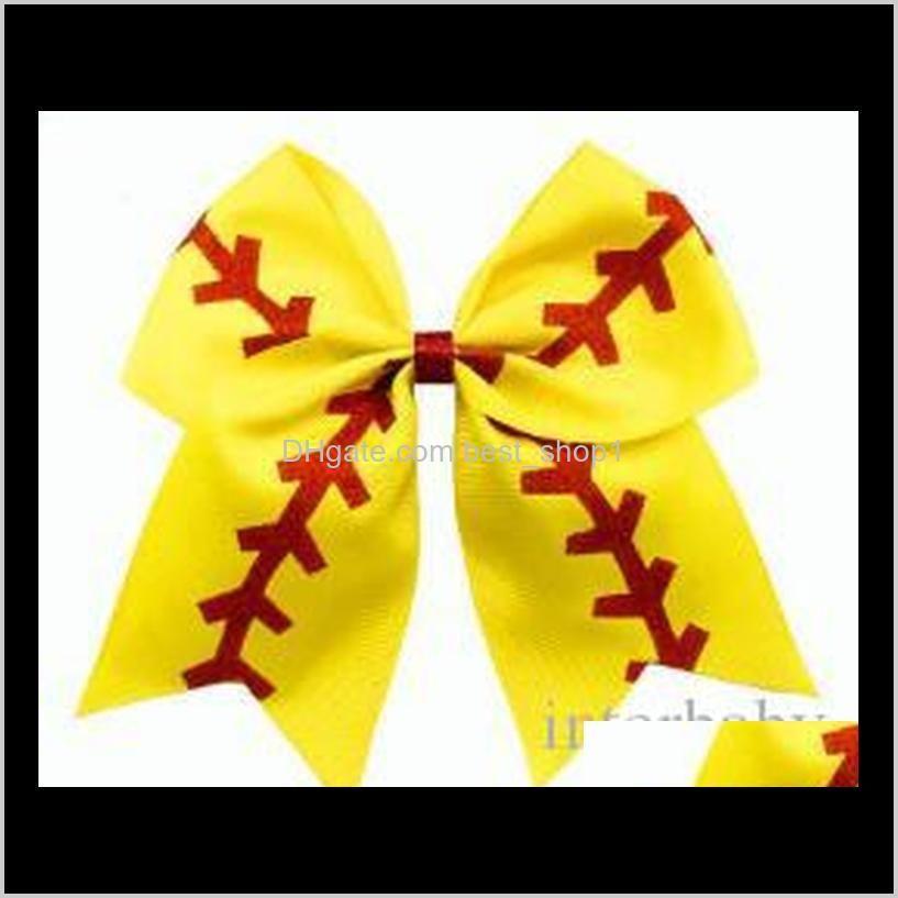 softball baby headband girl baseball cheer hairbands rugby bowknot dovetail hair bows cheerleading hair accessory ponytail hair holders