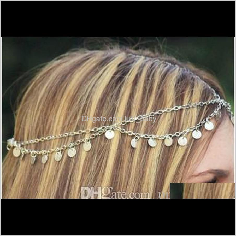 bling head chain with squines for girls bridal hair accessories wedding head piece gold plated hair band tassel