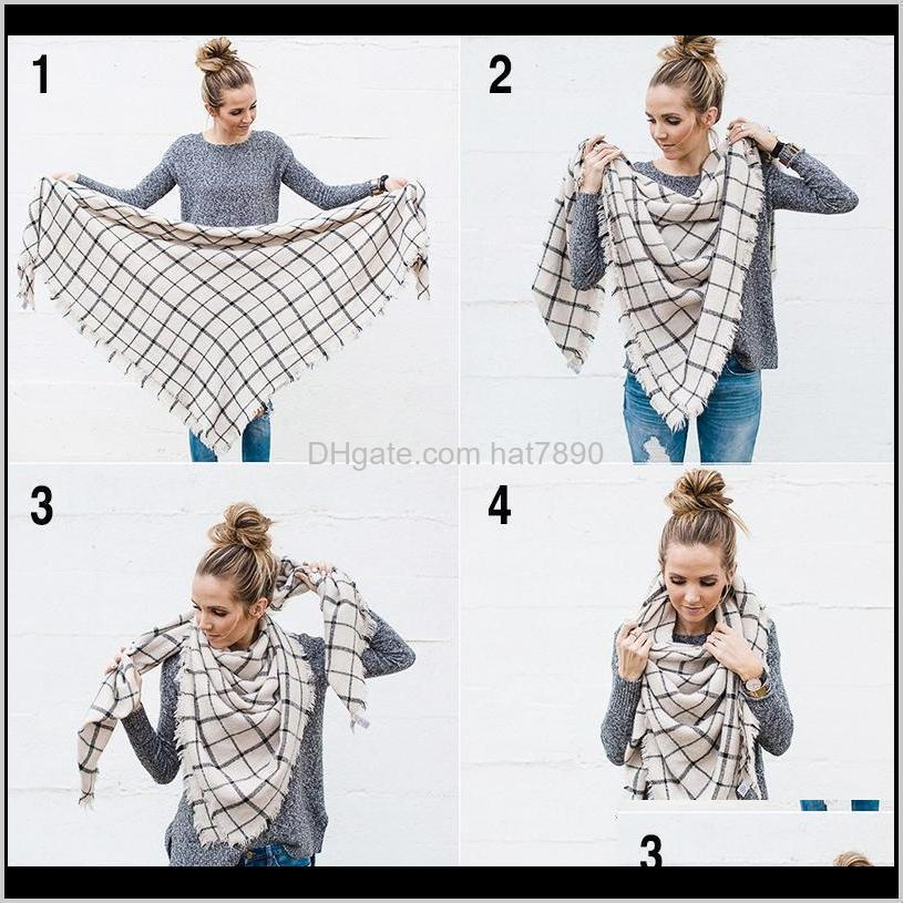 New Designer 2020 Winter Women Scarf Cashmere Scarf Female Plaid Scarves Triangle Blanket Shawls and Scarves 140*140*210cm