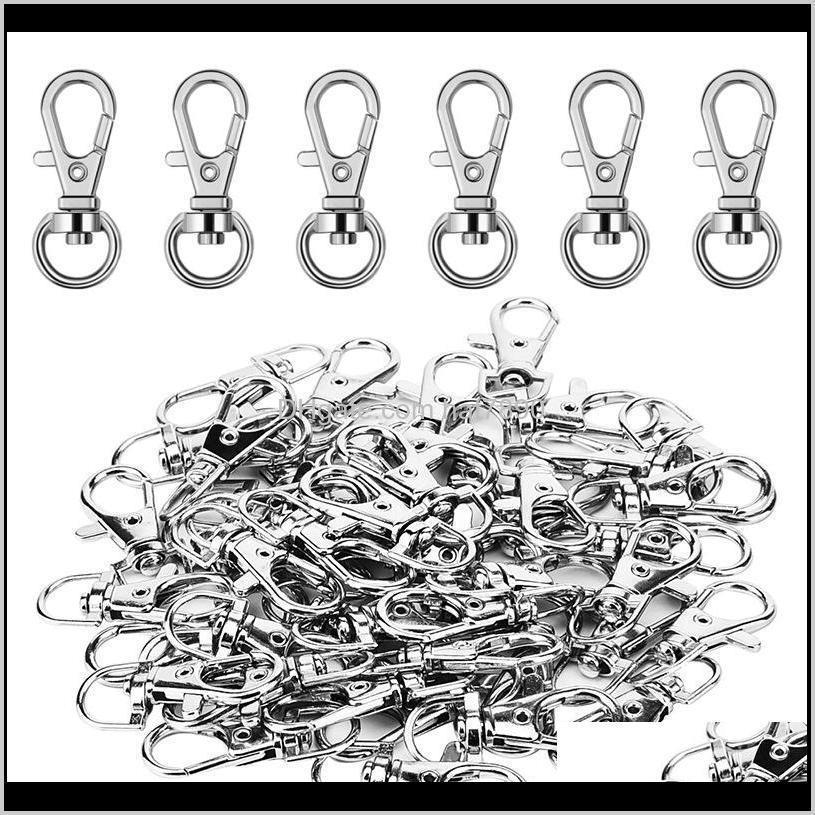 Kimter 300Piece Silver Swivel Snap Hooks O Key Rings with Open Jump Ring Metal Lobster Clasp Buckle Keychain for Craft DIY Accessory