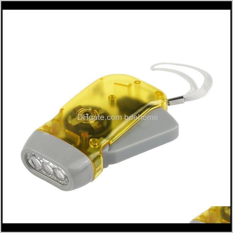 new hand crank battery- flashlight camping lights 3 leds hand pressing flashlight manual generator traveling torch light