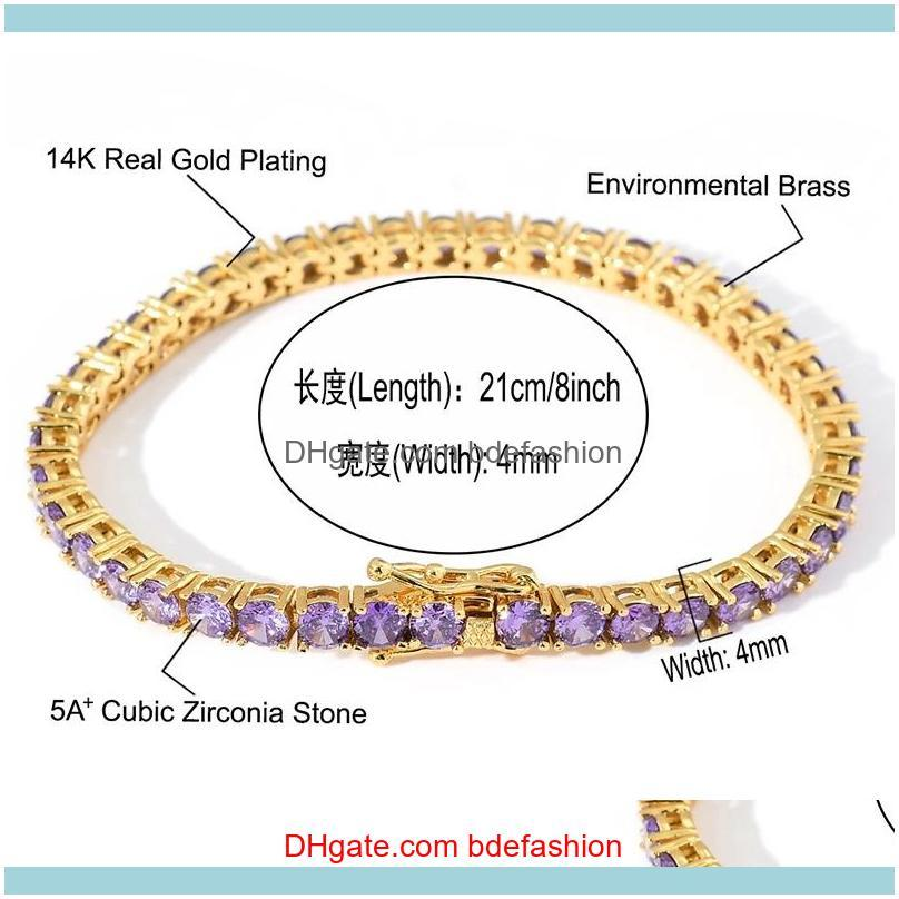 4MM Hip Hop Bling Iced Out Purple Cubic Zirconia Tennis Chain Bracelets Women Men 1 Row CZ Link Chain Jewelry Gold Silver Color