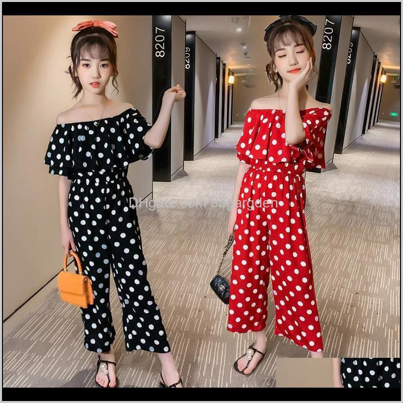 kids clothes summer outfits teenage girls clothing 12 14 years word shoulder short sleeve polka dot rompers children`s jumpsuit sets
