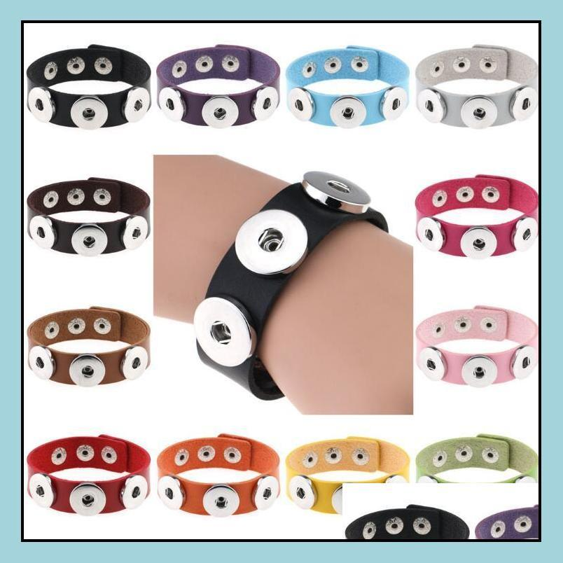 New Chunk Punk Leather Bangle Bracelets drill fit for Noosa Snaps Charm Button charm Interchangeable Bracelets Noosa Snaps Bangles