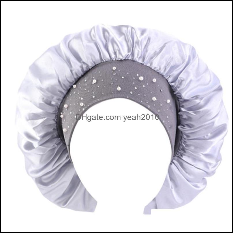 Women Satin Extra Large Bonnet Sleep Cap Shiny Rhinestone Night Hat Head Cover M2EA Beanies