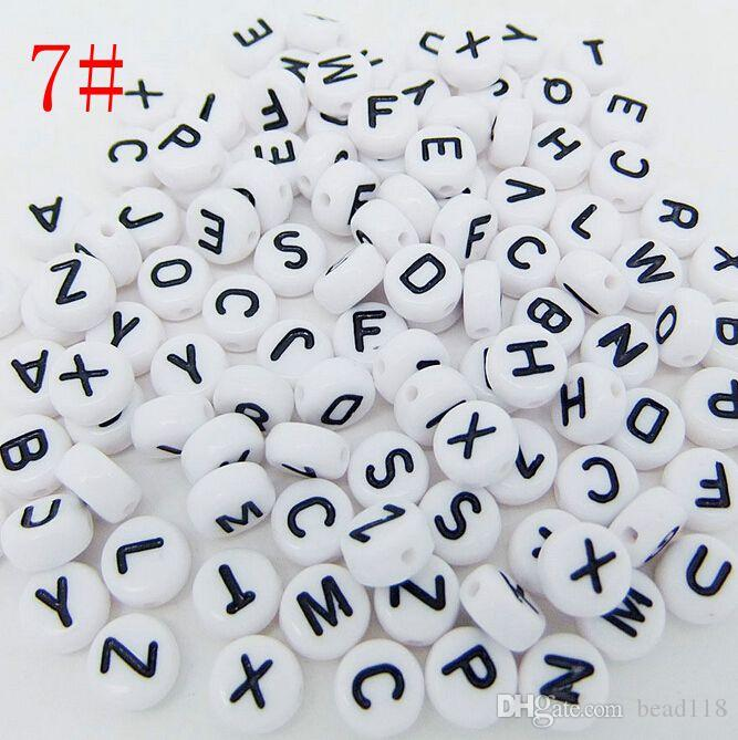 Caldo ! 500 pz 7mm acrilico misto alfabeto lettera moneta tondo piattino distanziatore allentato perline 15 stile pick