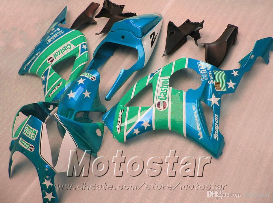 7 brindes + kit de carenagem para injecção Honda cbr900rr 954 2002 2003 CBR 900RR carenagem preta verde CBR954 02 03 YR81