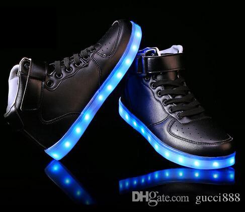 ee99f2052b Compre Homens Mulheres 8 Cores High Top LED Sapatos Para Adultos Branco  Preto Brilhante Up Light Shoes Plana Sapatos Luminosos LED Chaussure  Lumineuse ...