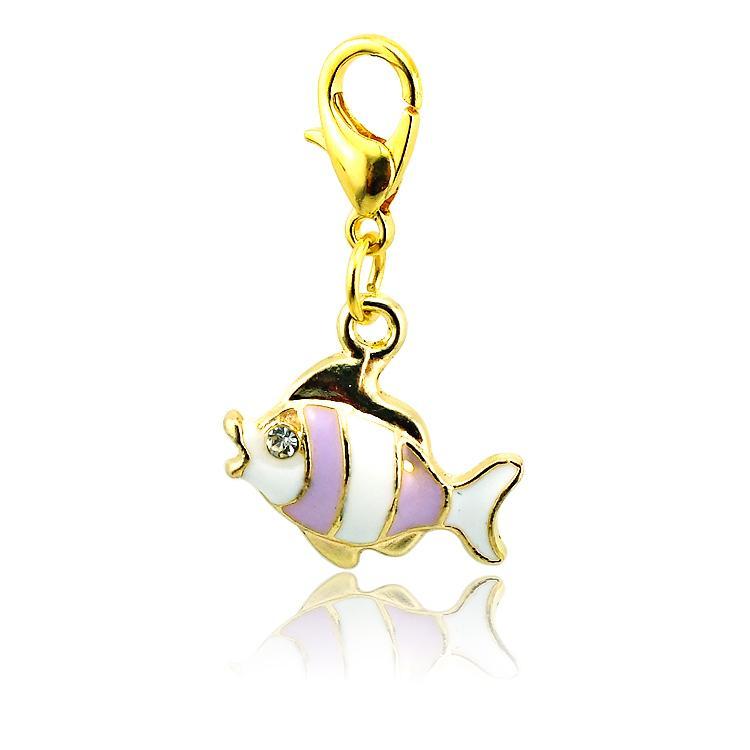 브랜드 새로운 패션 플로팅 매력 합금 랍스터 버클 4 색 라인 석 물고기 매력 DIY 액세서리 쥬얼리