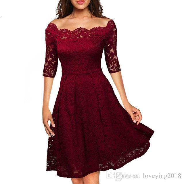 Elegant Womens Wedding Party Off the Shoulder Half Sleeve Stretchy Short Floral Lace Dress Autumn Winter Vestidos 2018