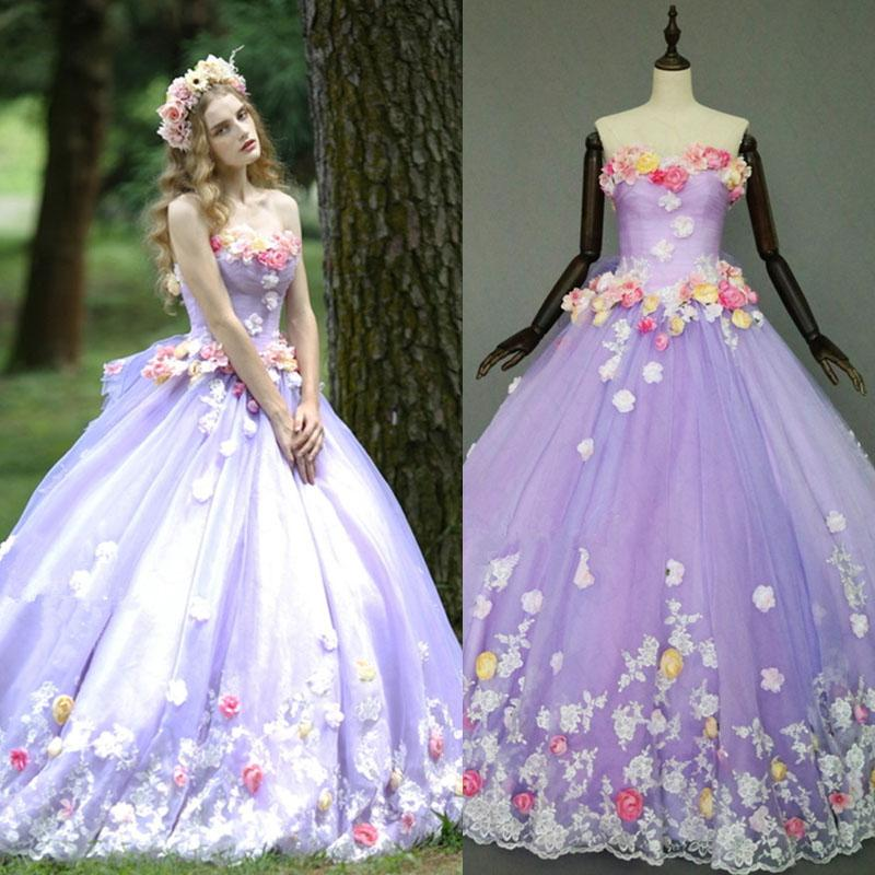 2015 Custom Made New Real Image Charming Lavender Handmade Flowers ...