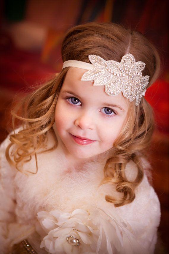 Baby Girls Crystal Headband Kids Diamante Hair Accessories Wedding Jewelry Cotton For Baptism Girl Women
