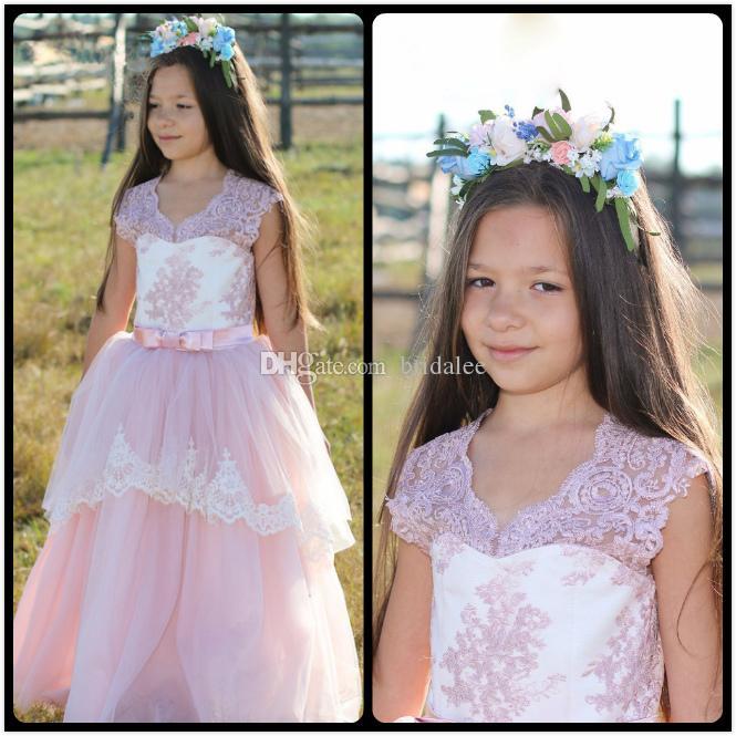 2016 Güzel Çiçek Kız Elbise Childern Düğün Için Pembe Kutsal Communion Elbise Dantel Çocuklar Balo Elbise Kat Uzunluk
