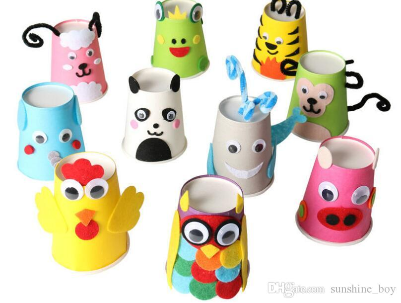 Kindergarten Handmade DIY for children Making color paper cups Disposable paper cup Holiday Party Wedding cup 250ml