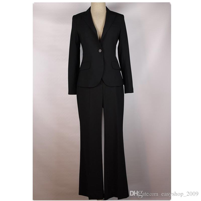 Lady suit is suitable for the female money during the spring and autumn day suit long sleeve coat and trousers a button office lady black fo