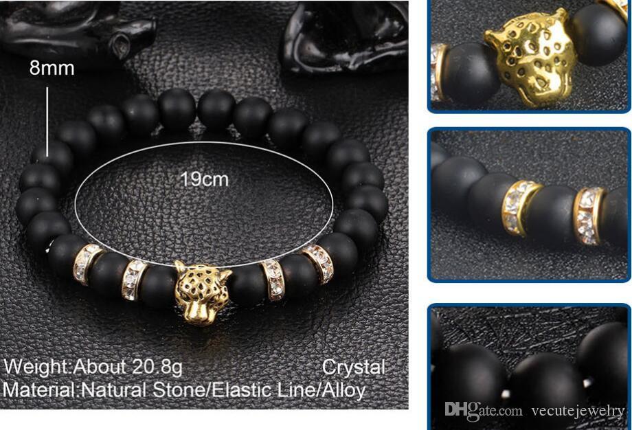 Pierre naturelle perles noires léopard brin bracelet hommes bijoux animaux bracelets homme femme chaîne ethniques main accessoires prix de gros