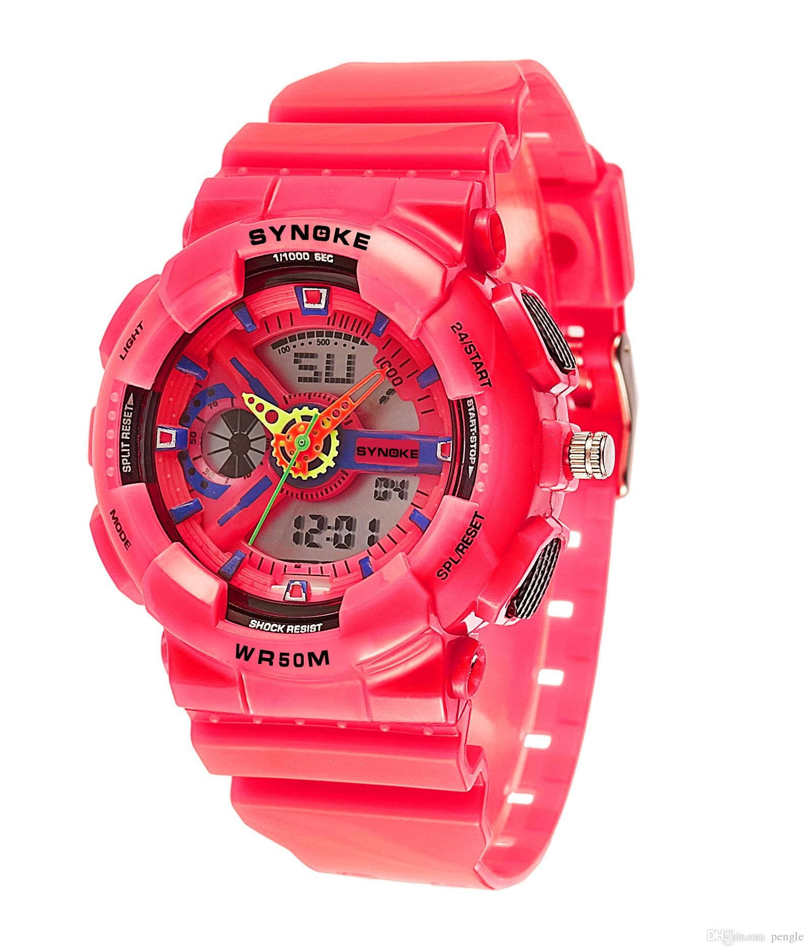 New School Students Sport Watches PU Leather Strap Round Dial Watches LED Digital Watches