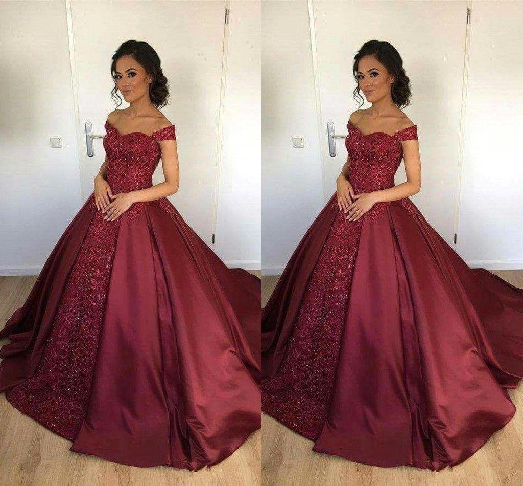 Elegant Wine Red Satin Long Prom Dresses Appliques Floor-length Evening Dresses Prom Gowns Vestido De Fiesta Ball Gown Quinceanera Dresses