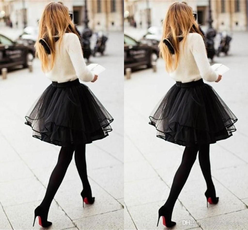 Cute Petite Black Tulle Skirts For Women Multi Layer Ribbon Edge Short Mini Girls Cocktail Party Dresses Tutu Female Adult Skirts