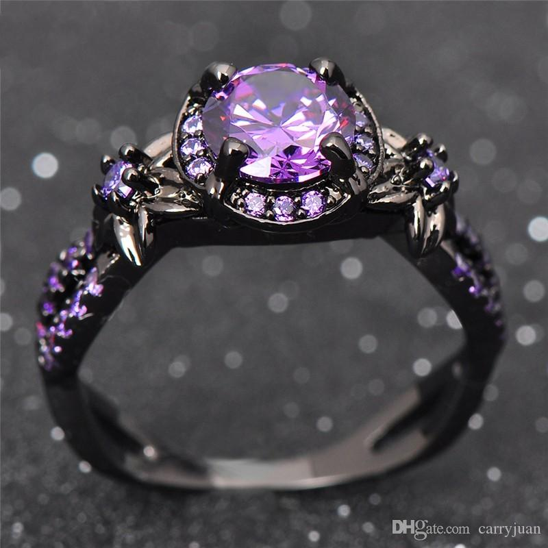 Victoria Wieck choucong Vintage Fashion Jewelry 10KT Black Gold Filled Round Cut Amethyst Gemstones CZ Diamond Party Women Wedding Ring Gift