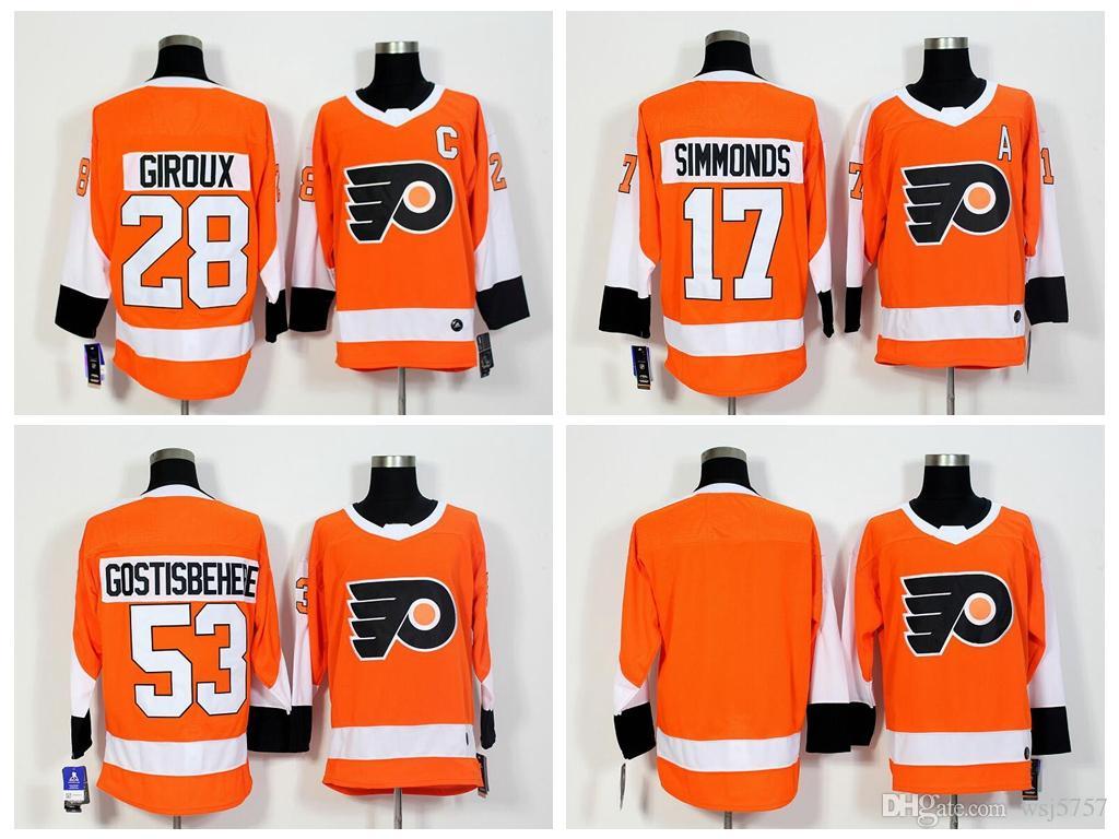 2018 AD Men s Philadelphia Flyers 28 Claude Giroux 17 Wayne Simmonds 53  Shayne Gostisbehere 93 Jakub Voracek Blank Stitched Hockey Jersey  Philadelphia ... 8b6f5a26d