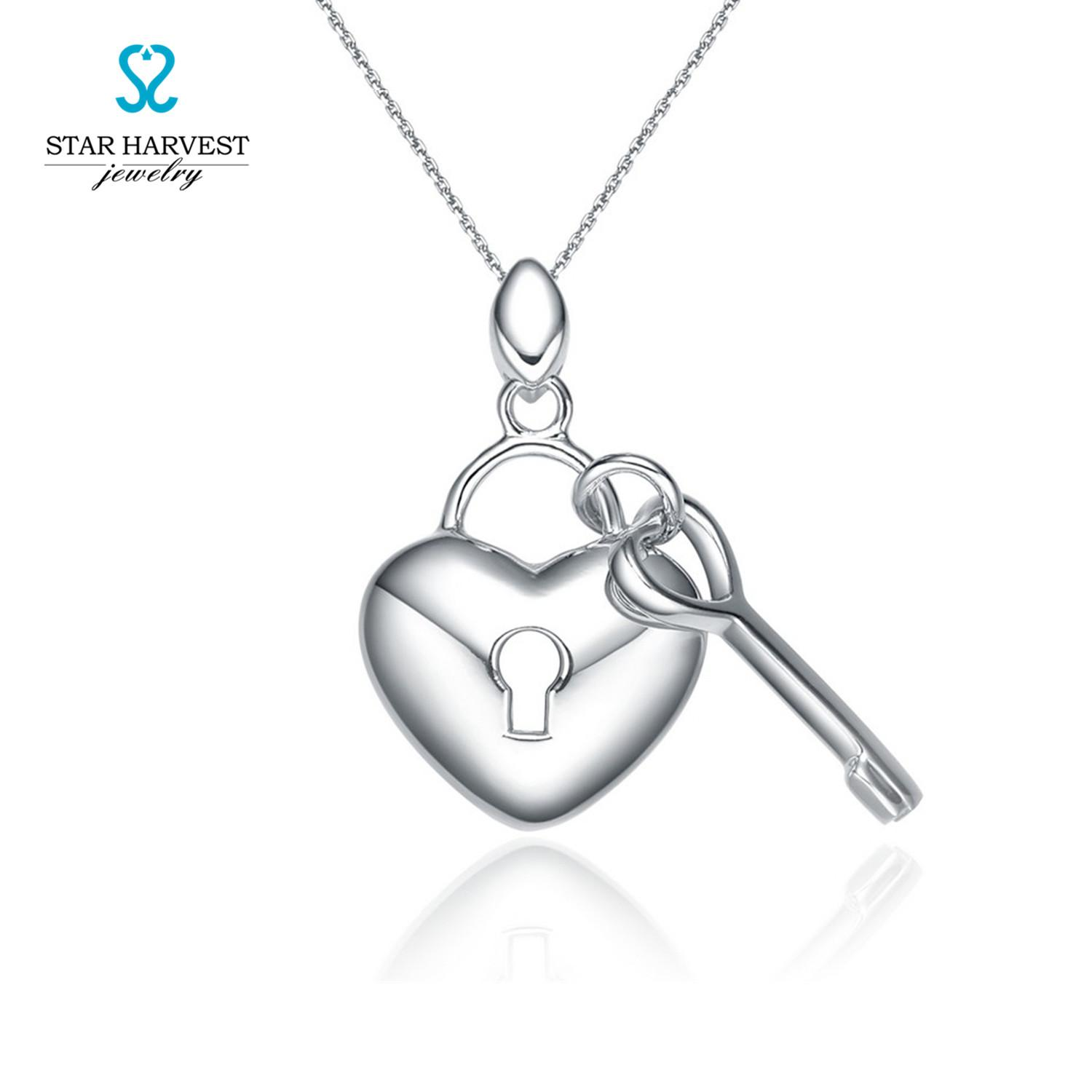 Wholesale Heart Lock And Key Pendant Necklaces 2016 New Year Gift