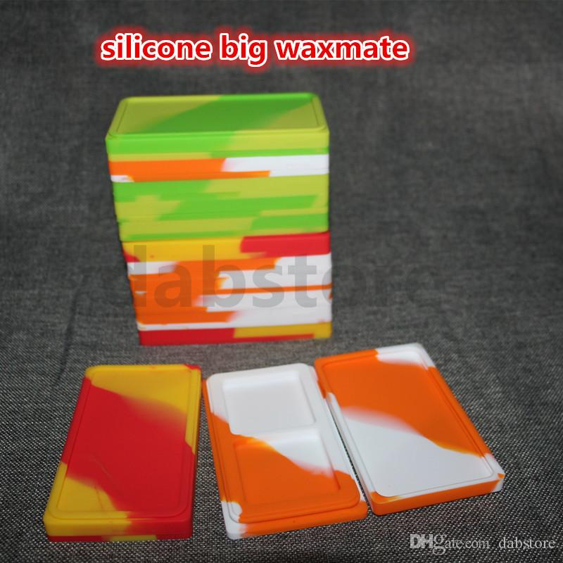 silicone oil waxmate container jars dab wax large waxmate square container large food grade silicon dry herb dabber box tool
