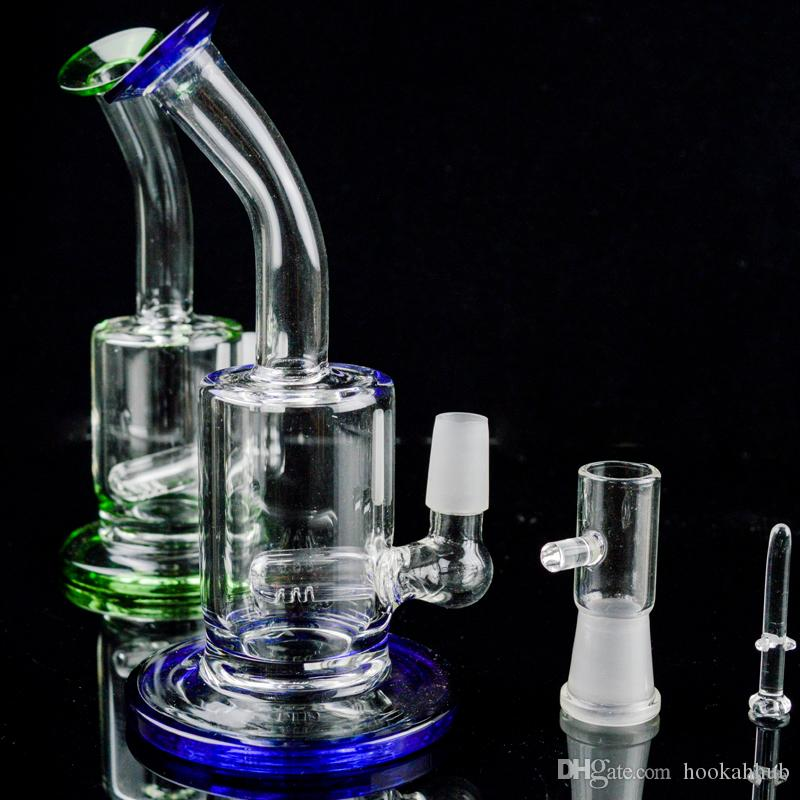 """Glass Bong Percolator Water Pipe 5"""" inch Heady Glass Oil Rigs Bent Neck 14mm Joint Small Hookahs Portable Bubbler Dab Rigs Free Grinder"""