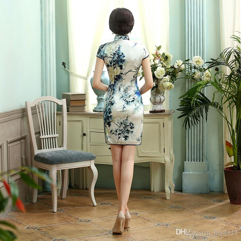 Top-grade Silk cheongsam 100% Mulberry high silk cheongsam Floral painting chinese traditional clothing qipao dress Z002X