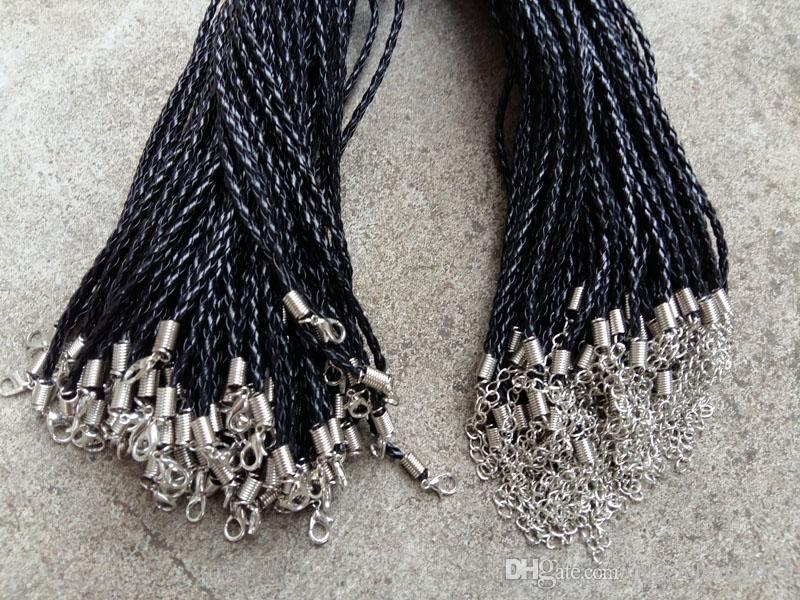 18 '' 20 '' 22 '' 24 '' 4mm Negro PU cuero Cuerda Collar trenza con cierre de langosta para la joyería del arte DIY