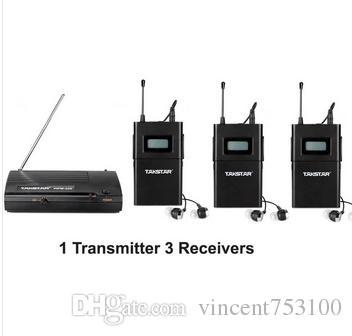 2014 UHF Wireless In Ear Stage System Monitor Taktar In Ear Stage Wireless Monitor System 3 Odbiornik + 1 Nadajnik WPM-200 Darmowa Wysyłka