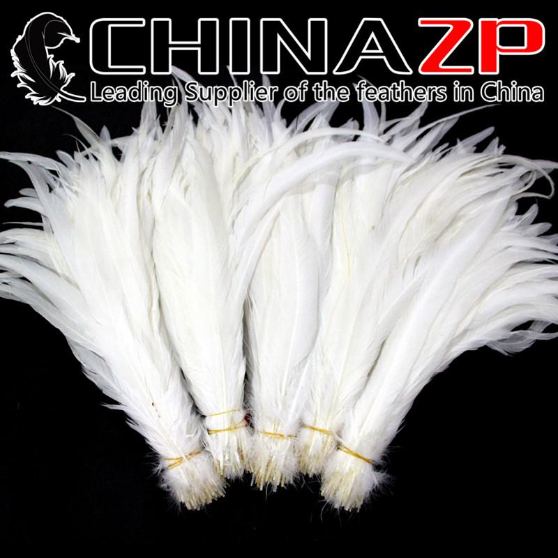 Gold Supplier CHINAZP Crafts Factory Cheap Wholesale 35~40cm(14~16inch)Top Quality Bleached Snow White Rooster Tail Feathers